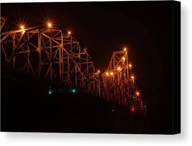 Bridge Canvas Print featuring the photograph Black Hawk At Night 2 by Betsy Stahl