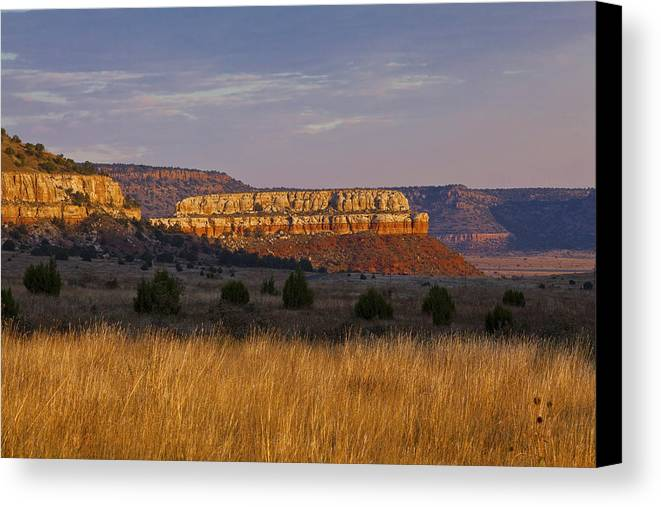 Black Mesa Canvas Print featuring the photograph Black Mesa Sunrise by Charles Warren