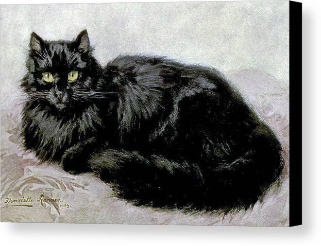 Cats Canvas Print featuring the painting Black Persian Cat by Henriette Ronner