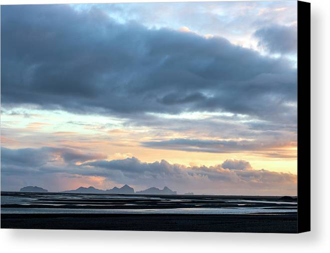 Iceland Canvas Print featuring the photograph Black Sand Sunset Iceland by Brad Scott