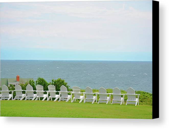 Canvas Print featuring the photograph Block Island Hotel Ocean View by Charles Willis