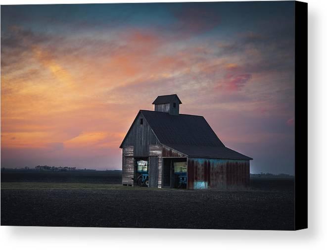 Landscape Canvas Print featuring the photograph Blue Barn by David Jilek