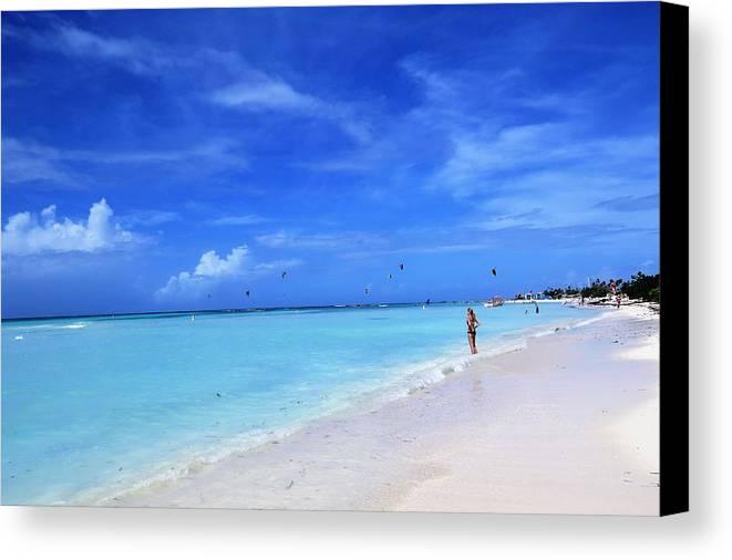 Beach Canvas Print featuring the photograph Blue Beach by Sandra Bourret