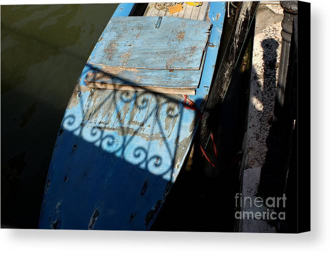 Boat Canvas Print featuring the photograph Blue Boat In Venice With Shadow by Michael Henderson