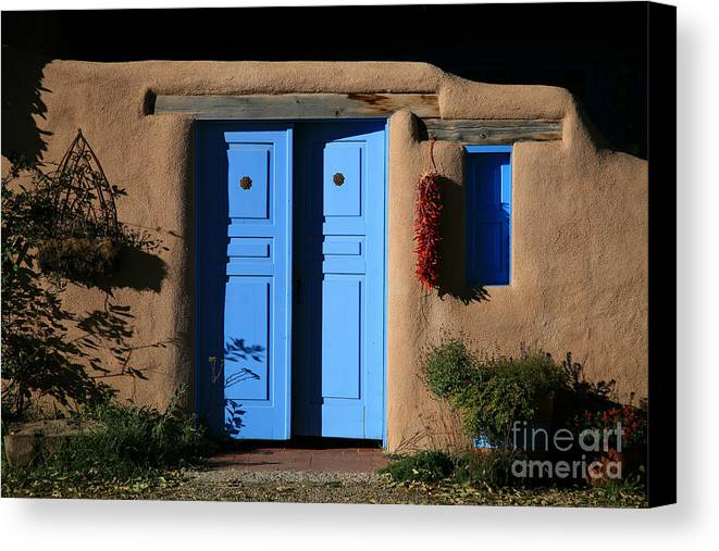 Doors Canvas Print featuring the photograph Blue Doors by Timothy Johnson
