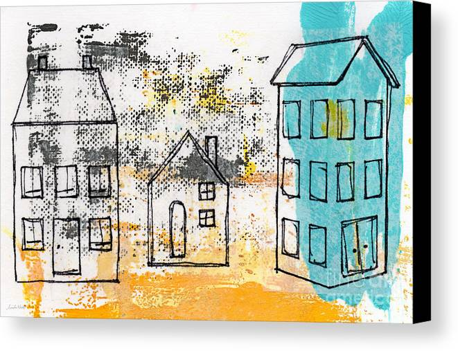 Abstract Canvas Print featuring the painting Blue House by Linda Woods