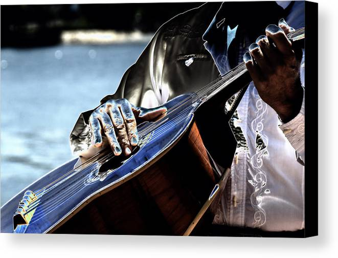 Guitar Canvas Print featuring the digital art Blue Notes by Lyle Huisken