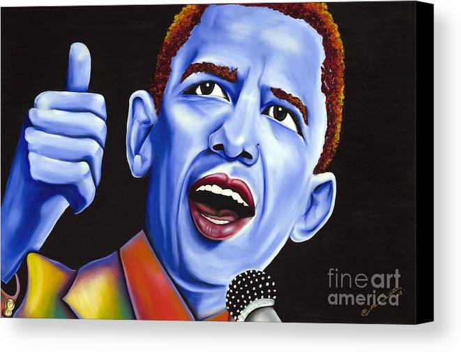 Barack Obama Canvas Print featuring the painting Blue Pop President Barack Obama by Nannette Harris