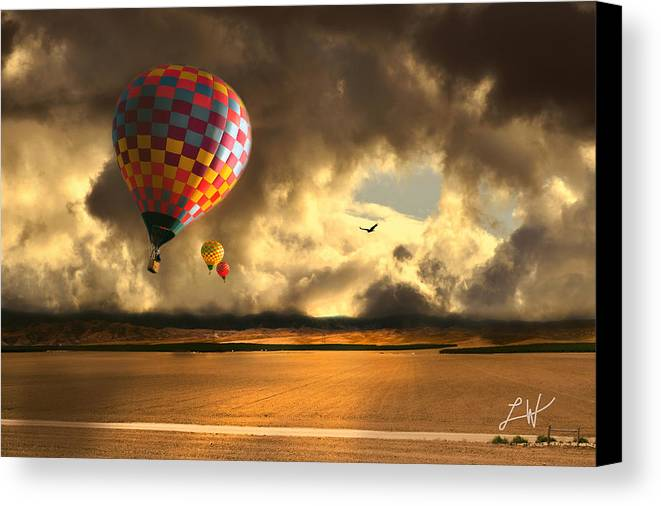Hot Air Balloon Ride Canvas Print featuring the photograph Blue Skies Ahead by Artist and Photographer Laura Wrede