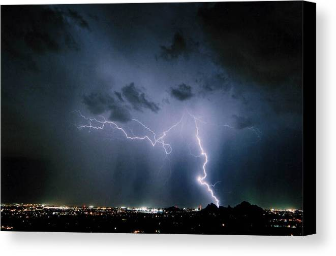 Arizona Canvas Print featuring the photograph Blue Strike by Cathy Franklin