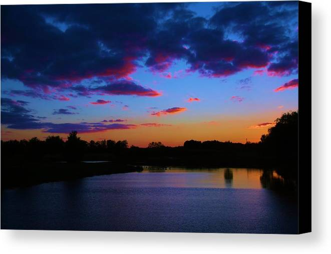 Sunset Canvas Print featuring the photograph Blue Sunset by Eric Noa