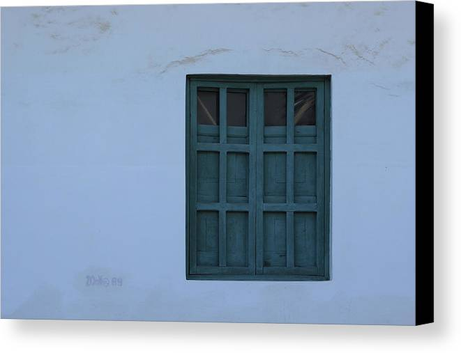 Window Canvas Print featuring the photograph Blue Window In A Wall by Robert Hamm