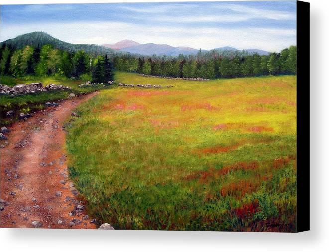 Maine Canvas Print featuring the painting Blueberry Field 09 by Laura Tasheiko