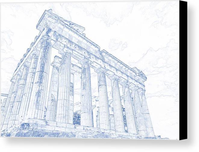 Blueprint drawing of greece palace parthenon iconic ruins canvas drawing canvas print featuring the painting blueprint drawing of greece palace parthenon iconic ruins by celestial malvernweather Images