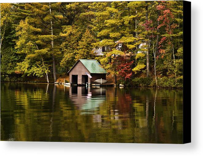 Adirondacks Canvas Print featuring the photograph Boat House by David Simons