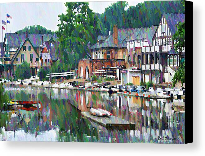 Boathouse Canvas Print featuring the photograph Boathouse Row In Philadelphia by Bill Cannon