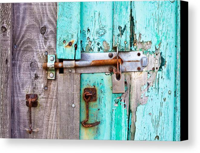 Area Canvas Print featuring the photograph Bolted Door by Tom Gowanlock