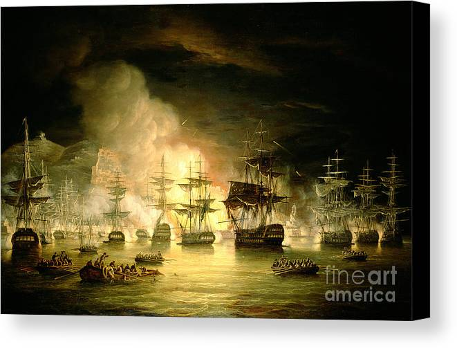 Bombardment Of Algiers Canvas Print featuring the painting Bombardment Of Algiers by Thomas Luny