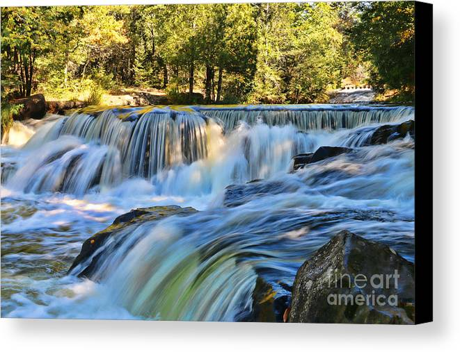 Bond Falls Canvas Print featuring the photograph Bond Falls 9369 by Jack Schultz