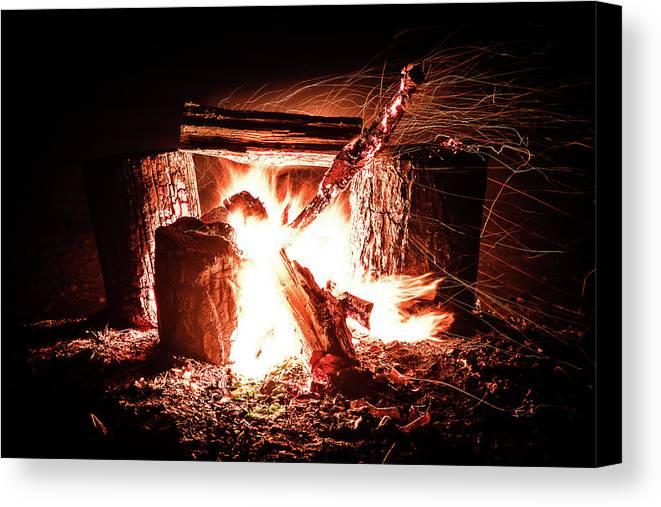 Bonfire Canvas Print featuring the photograph Bonfire by Benjamin Dunlap