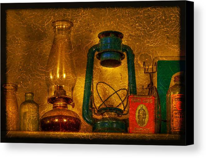 Bottle Canvas Print featuring the photograph Bottles And Lamps by Evelina Kremsdorf