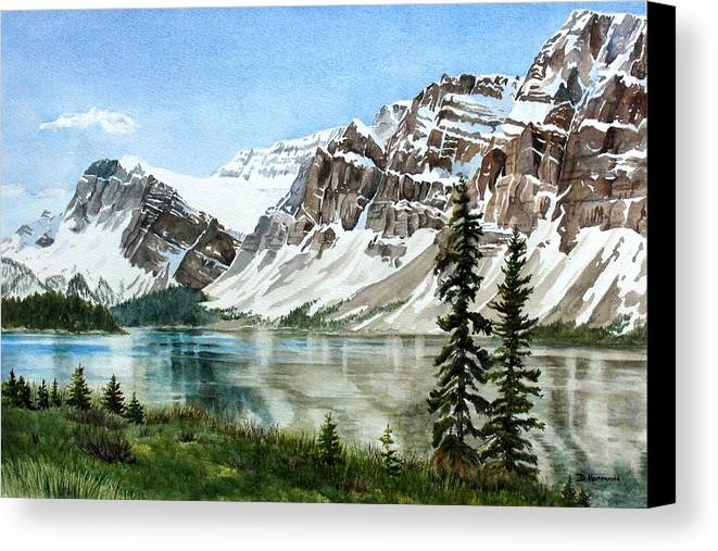 Bow Lake Canvas Print featuring the painting Bow Lake Alberta No.2 by Debbie Homewood
