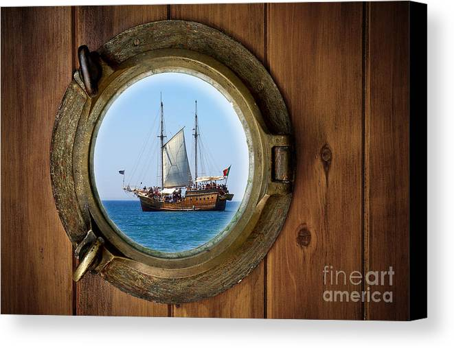 Aged Canvas Print featuring the photograph Brass Porthole by Carlos Caetano