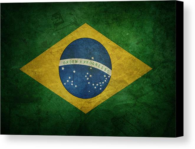 Brazil Canvas Print featuring the photograph Brazil Flag by Les Cunliffe