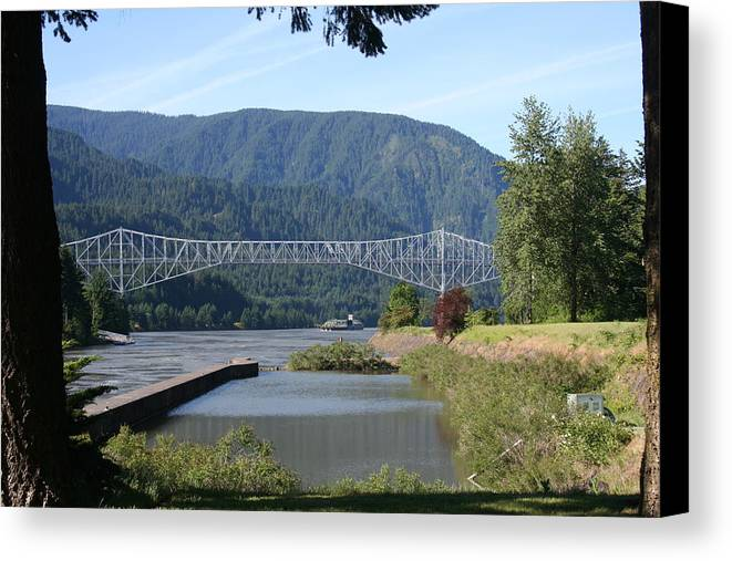 Bridges Canvas Print featuring the photograph Bridge Of The Gods Br-4002 by Mary Gaines