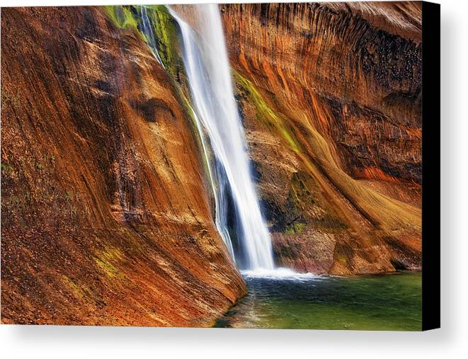 Utah Southwest Usa Escalante National Monument Grand Staircase Navajo Sandstone Lower Calf Creek Falls Calf Creek Escalante Waterfall Waterfalls Hiking Hike Canvas Print featuring the photograph Brilliant Colored Walls Of Utah's Lower Calf Creek Falls. by Larry Geddis