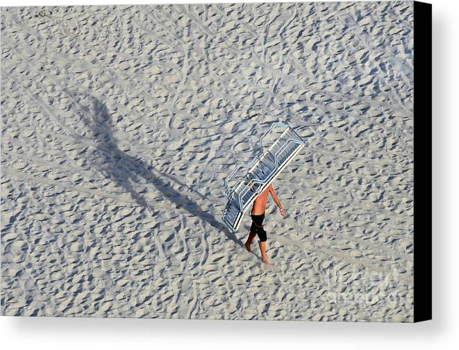 Beach Canvas Print featuring the photograph Bringing In The Chairs by Craig McCausland