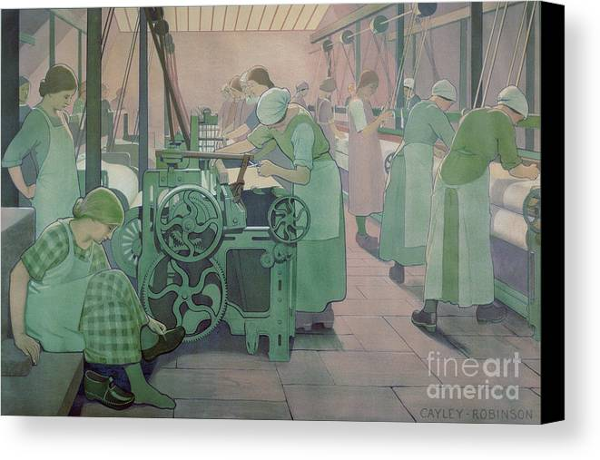 Factory; Twenties; Women; Machinery; Looms; Protective Clothing Canvas Print featuring the painting British Industries - Cotton by Frederick Cayley Robinson