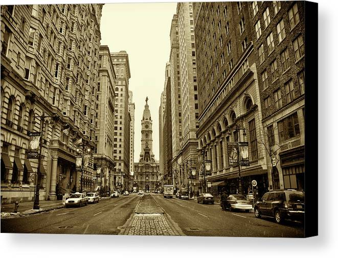 Broad Street Canvas Print featuring the photograph Broad Street Facing Philadelphia City Hall In Sepia by Bill Cannon
