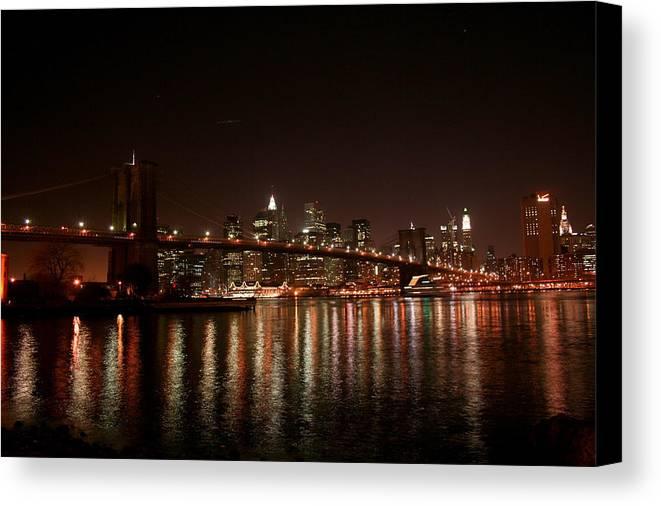 Brooklyn Bridge Canvas Print featuring the photograph Brooklyn Bridge At Night by Jason Hochman