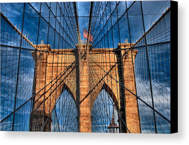 Brooklyn Canvas Print featuring the photograph Brooklyn Bridge In The Golden Light by Val Black Russian Tourchin