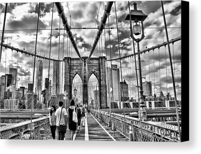 Bridge Canvas Print featuring the photograph Brooklyn Bridge Walkway  B And W by Allen Beatty