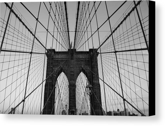 Brooklyn Bridge Canvas Print featuring the photograph Brooklyn's Web by Joshua Francia