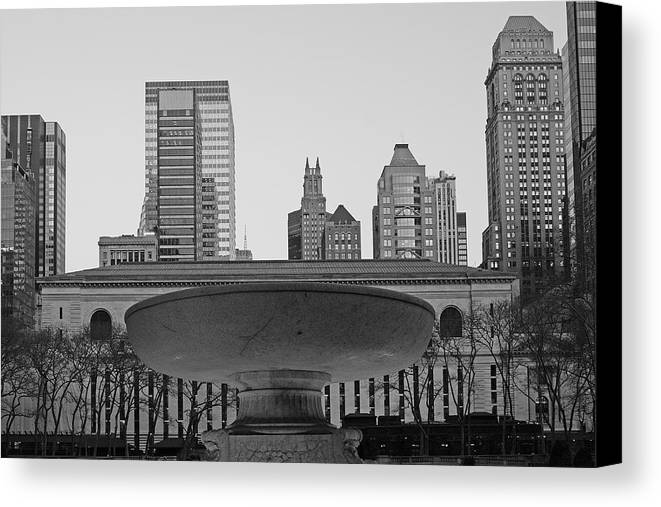 Bryant Park And Public Library Canvas Print featuring the photograph Bryant Park by Christian Heeb