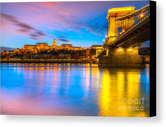 Budapest Canvas Print featuring the photograph Budapest - Chain Bridge And Buda Castle - Hungary by Luciano Mortula