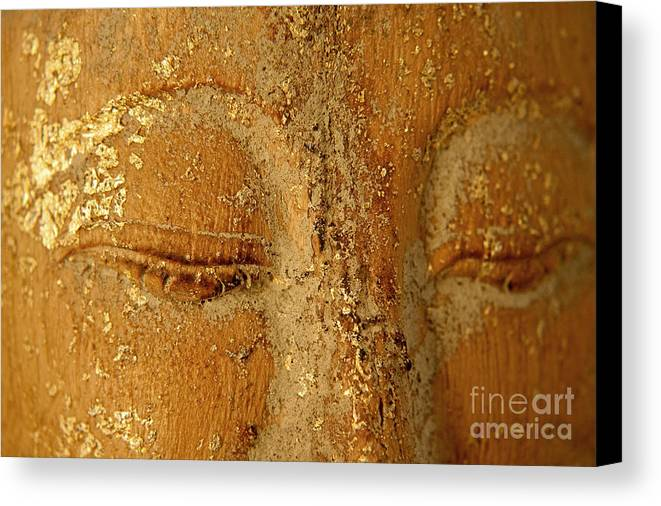 Zen Canvas Print featuring the painting Buddha's Eyes by Julia Hiebaum