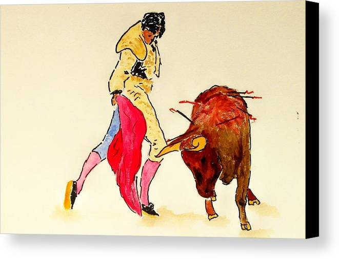Spain Canvas Print featuring the painting Bull Fighter by Leo Gordon