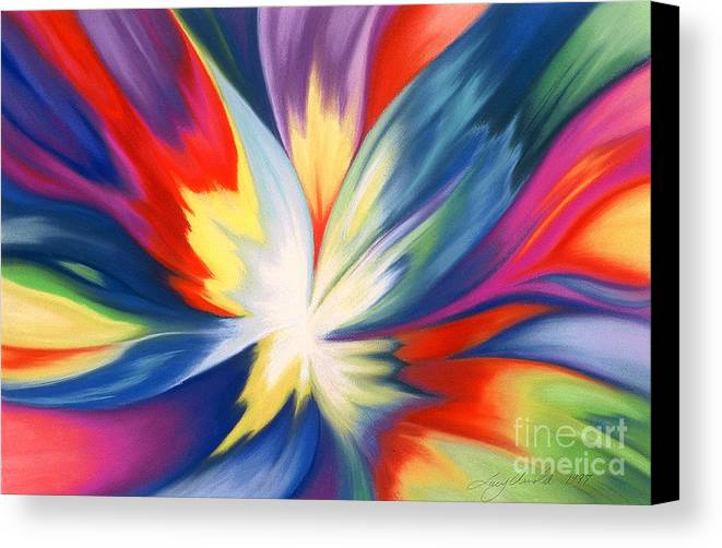 Abstract Canvas Print featuring the painting Burst Of Joy by Lucy Arnold