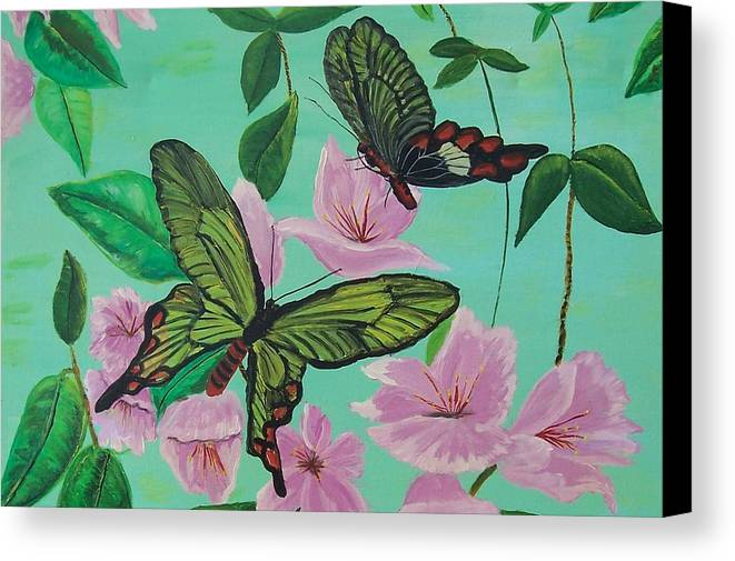 Butterfly Canvas Print featuring the painting Butterflies In Flight by Martha Mullins