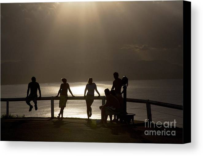 Byron Bay Lighthouse Silhouette Sunset Rays Canvas Print featuring the photograph Byron Bay Lighthouse by Avalon Fine Art Photography