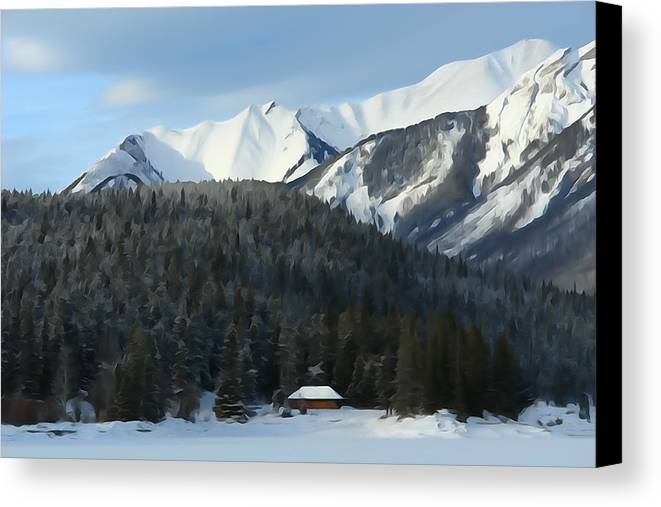 Mountain Scene Canvas Print featuring the photograph Cabin On Frozen Lake by Greg Hammond