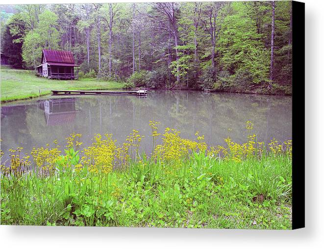 Cabin Canvas Print featuring the photograph Cabin Reflection by Alan Lenk