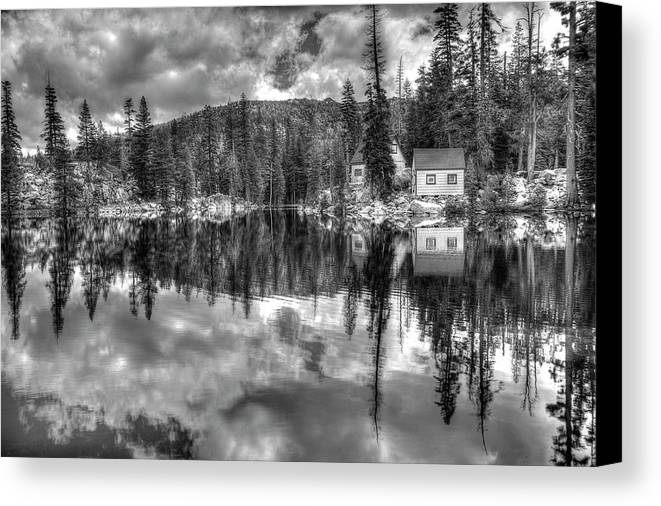 Mosquito Lake Canvas Print featuring the photograph Cabin Reflection by Maha Aldoori