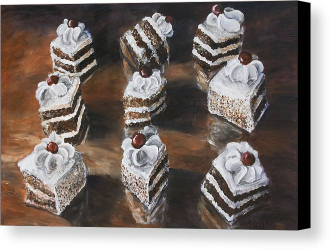 Cake Canvas Print featuring the painting Cake by Nik Helbig
