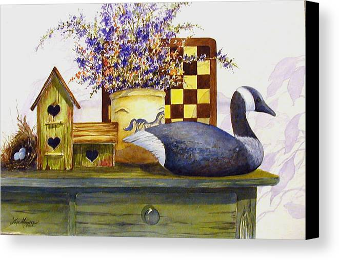 Canada Goose;birdhouse;bird Nest;crock;checkerboard;still Life;country Still Life; Canvas Print featuring the painting Canada And Checkerboard by Lois Mountz