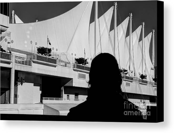 2016 Canvas Print featuring the photograph Canada Place Wings Silhouette by Dorothy Hilde